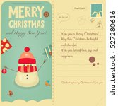 vintage postcard with christmas ... | Shutterstock .eps vector #527280616