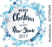 Merry Christmas & Happy New Year lettering. White 3d circle with blue snowflakes. Abstract winter background for card, placard, flyer, poster, banner, web. Vector illustration.