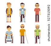 disabled people vector set. old ... | Shutterstock .eps vector #527315092