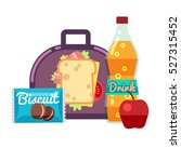 kids lunch box  bag with snacks ... | Shutterstock .eps vector #527315452