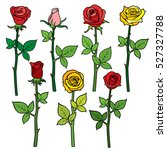 red vector roses with flower... | Shutterstock .eps vector #527327788