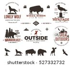 Set of wild animal badges and great outdoors activity emblems. Retro letterpress effect. Stock vector logos in typography style. Custom explorer quotes | Shutterstock vector #527332732