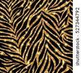 Stock vector seamless gold zebra pattern vector illustration shining fashion wild background chic animal 527344792