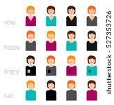 woman face. happy  sad  angry ... | Shutterstock .eps vector #527353726