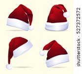 collection of red santa hats.... | Shutterstock .eps vector #527372572