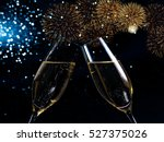 champagne flutes with golden... | Shutterstock . vector #527375026