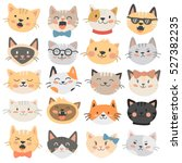 Cats Heads Emoticons Vector.