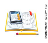 open accounting book or ledger... | Shutterstock .eps vector #527394412