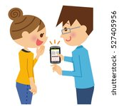 a couple seeing mobile. | Shutterstock .eps vector #527405956