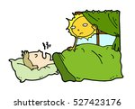 tired lazy man sleep in the bed ... | Shutterstock .eps vector #527423176