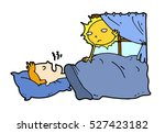 tired lazy man sleep in the bed ... | Shutterstock .eps vector #527423182