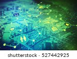 Stock photo duo tone graphic of internet of things concept abstract smart city smart grid sensor network 527442925