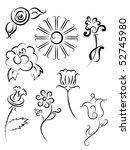 tatoo flower set | Shutterstock .eps vector #52745980