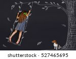 spring curly girl on a swing.... | Shutterstock . vector #527465695