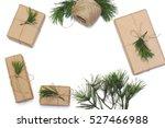 kraft paper  jute cord and pine ... | Shutterstock . vector #527466988