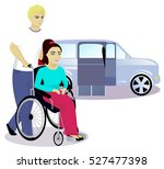 girl with disabilities in a... | Shutterstock .eps vector #527477398
