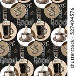 coffee  doodle seamless pattern ... | Shutterstock .eps vector #527494576
