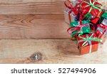 Christmas Gift Box On Wood...