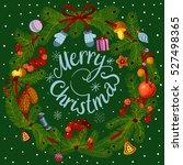 vector green christmas wreath... | Shutterstock .eps vector #527498365
