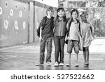 happy schoolchildren in... | Shutterstock . vector #527522662