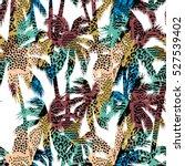 trendy seamless exotic pattern... | Shutterstock .eps vector #527539402