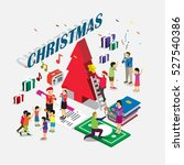 people is waiting for christmas ... | Shutterstock .eps vector #527540386