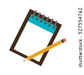 notebook school with pencils... | Shutterstock .eps vector #527554762
