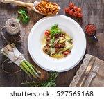 hot appetizer of chanterelle... | Shutterstock . vector #527569168
