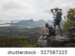 couple of tourist relaxing on... | Shutterstock . vector #527587225
