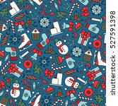 seamless pattern with christmas ... | Shutterstock .eps vector #527591398