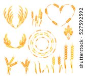 wheat ears or rice icons set.... | Shutterstock .eps vector #527592592