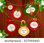 christmas and new year greeting ... | Shutterstock .eps vector #527595442