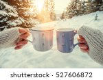 couple hands in mittens take a... | Shutterstock . vector #527606872