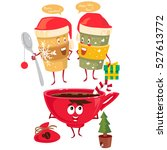 vector christmas cups with... | Shutterstock .eps vector #527613772