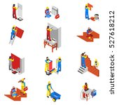 builder people isometric icons... | Shutterstock .eps vector #527618212