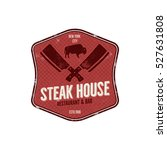 steak house vintage label.... | Shutterstock .eps vector #527631808