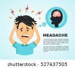 vector flat man with a headache ... | Shutterstock .eps vector #527637505