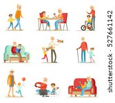 grandfather and grandmother... | Shutterstock .eps vector #527661142