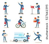 postman in blue uniform with... | Shutterstock .eps vector #527661595