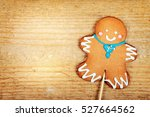 christmas gingerbread man on... | Shutterstock . vector #527664562
