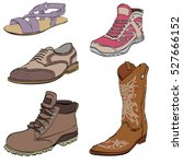 set of mens shoes  sneakers... | Shutterstock .eps vector #527666152