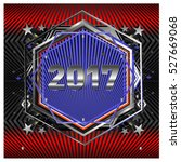 happy new year 2017 hexagonal... | Shutterstock .eps vector #527669068