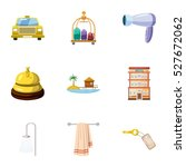 staying in hotel icons set.... | Shutterstock .eps vector #527672062