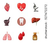 diagnosis icons set. cartoon...   Shutterstock .eps vector #527672272