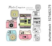 hipster photo camera collection, hand drawn graphic - stock vector