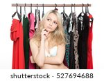 girl in underwear from clothes... | Shutterstock . vector #527694688