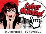 cyber monday shopping pop art... | Shutterstock .eps vector #527695822