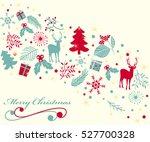 vintage christmas greeting card.... | Shutterstock .eps vector #527700328