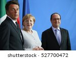 Small photo of JUNE 27, 2016 - BERLIN: Italian Prime Minister Matteo Renzi, German Chancellor Angela Merkel and French President Francois Hollande at a press conference before a meeting in the Chanclery.