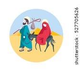 mary and joseph flee to egypt... | Shutterstock .eps vector #527705626